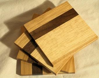 Handmade wood Hickory with Walnut band Beverage Coasters