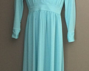 Vintage 1970's Light Blue Maxi Dress with Long Sleeves and Peter Pan Collar.