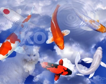 Mesmerized Cat Reflection Koi Fish Clouds Digital Art Giclee Painting Print