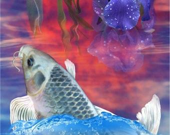 Koi Fish In Sunset Matsuba Soragoi Ghost Pond Digital Art Giclee Painting Print