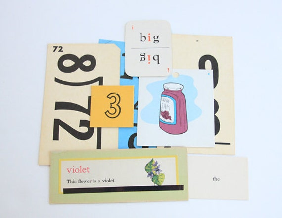Set of 8 Vintage Flash Cards - Educational Cards - Classroom - Mixed Media - Altered Art - Scrapbooking