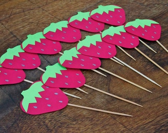 sweet strawberry cupcake toppers
