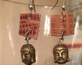 petite,silver, bronze and leather buddha earrings