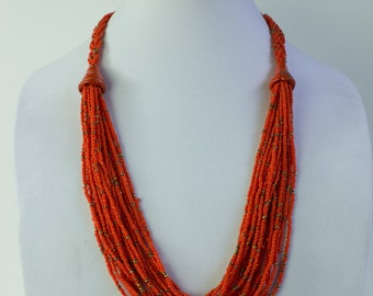 Beaded Necklace  - Tangerine // Kenyan made /  Souvenir