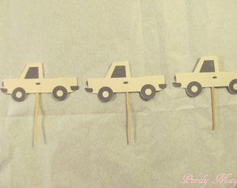 Truck Cupcake Toppers, Truck Cupcake Picks, Truck Birthday Party, Brown or Choice of Color Trucks, Pick Up Truck Cupcake Toppers, Set of 12