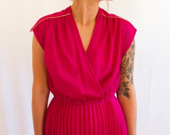 Vintage Fuchsia and Gold 1970's Dress by Vicky Vaughn Junior