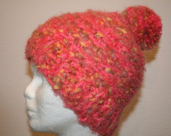 Orange pink crochet her Pompom Hat