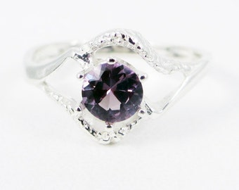 Alexandrite Textured Ring, 925 Sterling Silver, Lab Alexandrite Ring, June Birthstone, Solitaire Ring, Color Change Alexandrite Ring