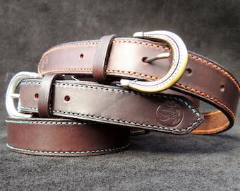 Leather belt stitched handmade / Handmade leather Belt