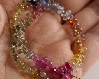 Multi color Sapphire Faceted Tear Drop Briolettes - 8 inches - 3.5 to 5mm, SM3001