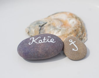 Wedding Name Places - Hand painted Stones - Nautical, woodland, Rustic wedding