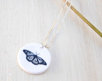 Butterfly necklace, monarch butterfly necklace, butterfly pendant, butterfly jewelry, monarch butterfly, nature necklace, butterfly art