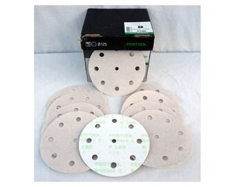Festool Brilliant 2 Sandpaper (10) 5 Inch 9 Hole Hook & Loop Random Orbital Discs Sanding Pads 180 Grit Fine