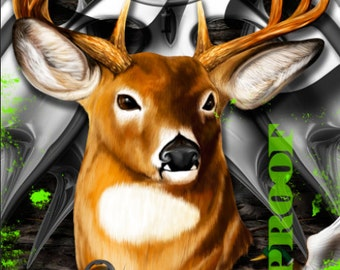 Deer Head Camo Reaper Splashes LAMINATED Cornhole Wrap Bag Toss Decal Baggo Skin Sticker Wraps