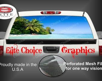 Beach Paradise Rear Window Graphic Tint Decal Sticker Truck SUV Van Car