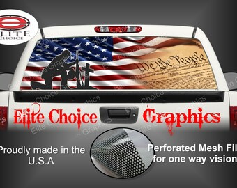 Patriotic American Flag Rear Window Graphic Tint Decal Sticker Truck SUV Van Car
