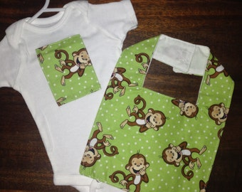 Monkey Onesie with Bib
