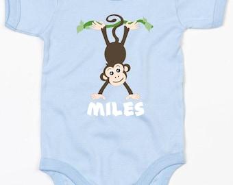 Personalised monkey baby vest boys clothing