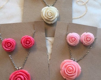 Rose Necklace and Matching Earrings Set