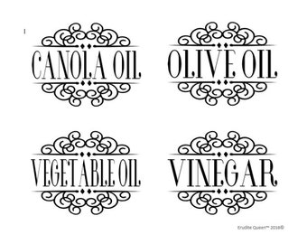 Oil and Vinegar Pantry Labels Vol. 1