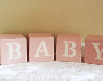 Pink Nursery Blocks, Baby Blocks, Baby Girl, Nursery Decor, Rustic Nursery Decor, Reversible Blocks, Baby Shower Gift, Baby Gift nursery
