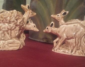 McCoy Deer Planters - Set of 2 - Vintage Pottery