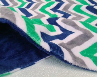 Navy Blue Minky Dot and Navy/Kelly Chevron Minky Blanket