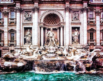 Rome Italy Photo, Trevi Fountain, Rome Landmark, Stone Statues, Multiple Waterfalls, Turquoise Water, Wall Decor, Rome Art Print