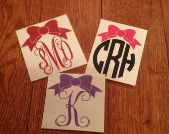 Bow Monogram, Bow Decal, Car Decal, Tumbler Decal, Yeti Decal, Macbook Decal, Phone Decal, Monogram Decal, Vine Monogram, Circle Monogram