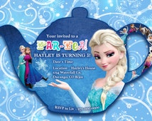 FROZEN Birthday Invitation, Tea Party Themed  5 x 7 Par-Tea, Printable Customized Frozen Party Invitation, Frozen Elsa Birthday Party Invite