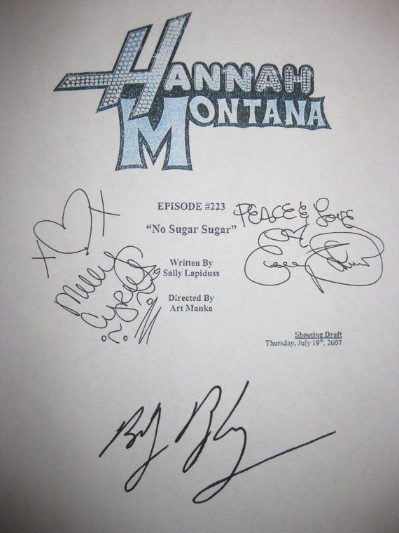 "Hannah Montana Signed TV Script Screenplay ""No Sugar Sugar"" X3 autograph Miley Cyrus Emily Osment Billy Ray Cyrus signature funny sitcom"