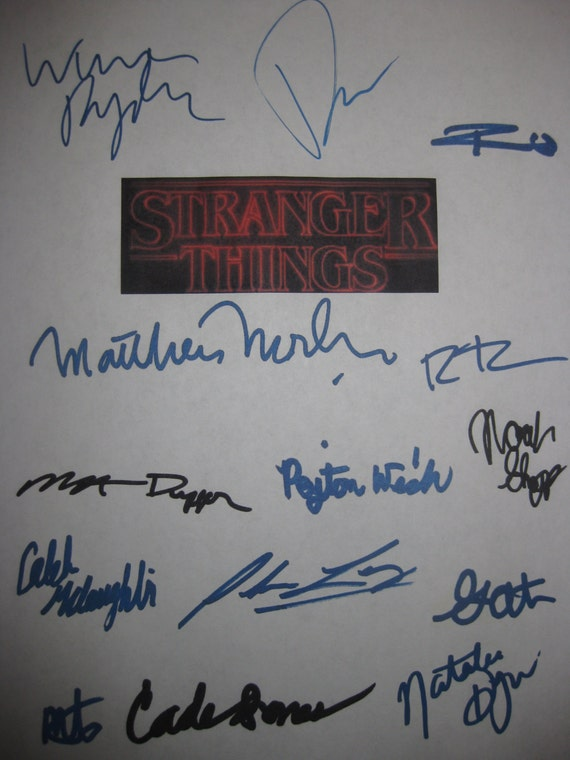Stranger Things Signed Pilot TV Screenplay Script X14 Autograph Winona Ryder Matthew Modine David Harbour Millie Bobby Brown Matt Duffer