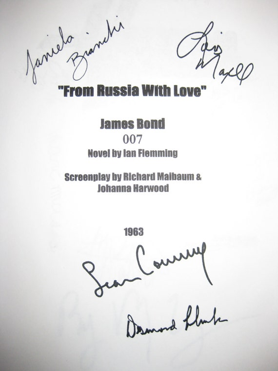 From Russia With Love Signed Film Movie Script Screenplay X4 Bond 007 Sean Connery Desmond Llewelyn Lois Maxwell Daniela Bianchi autographs