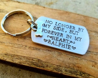 Personalized stamped pet memorial keychain. Dog keychain. Loss of pet. Dog lover gift. Pet sympathy gift. Dogs name gift. Personalized dog.