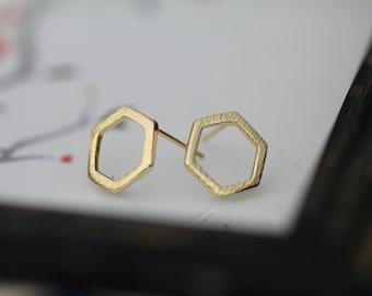 Gold Brushed Metal Hexagon Studs, Gold Hexagon Earrings, Geometric Earrings, Modern Shape Earrings, Gold Hexagons,