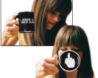 Have A Nice Day Ceramic Coffee FU Mug Flip Off Middle Finger Prank Funny Black Cup