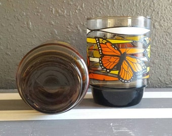 Mid-century Glassware. Vintage Yellow and Orange Butterfly Drinkware.