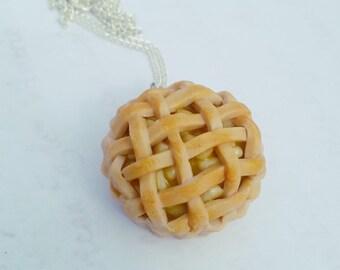 Apple Pie Necklace, Polymer Clay Jewelry