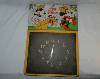 """Clock made from vintage Mickey Mouse, Minnie Mouse and Pluto chalkboard - 14"""" X 20"""" - Art / Homemade Clock - Walt Disney                 W-5"""