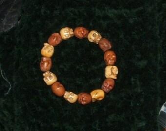 Bone Skull Bead and Wood Skull Bead Stretch Bracelet