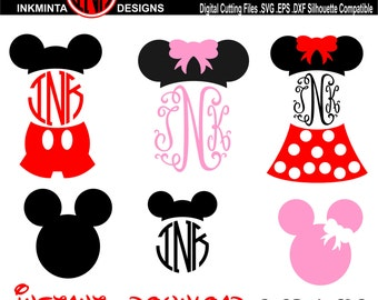 Mickey Mouse SVG File, Mickey Mouse Monogram, Minnie Mouse monogram