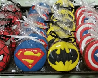Superhero Cookie, Spiderman, Superman, Batman, Captain America, party favours, party bag filler, birthday gift, gift box, wedding favour