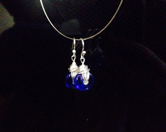 Cobalt/Royal blue lamp work glass bead earrings