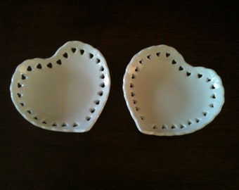 Set of two tiny heart shaped porcelain trinket dishes made in Japan
