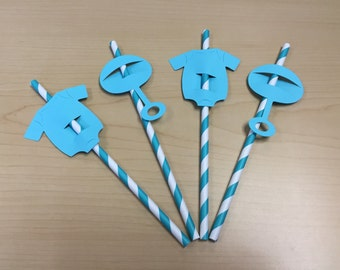 Baby Shower Themed Straws- Boy