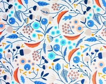 Cloud 9 Fabric / Organic Cotton Poplin / Elizabeth Olwen / Wildwood Forest Floor / White Blue Orange Pink / Floral FLower / Half Metre