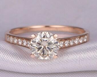 1ct Round Brilliant Moissanite Engagement ring,14k Rose gold,Moissanite Wedding Band,Solitaire,6.5mm Round Moissanite Ring,Promoise Ring