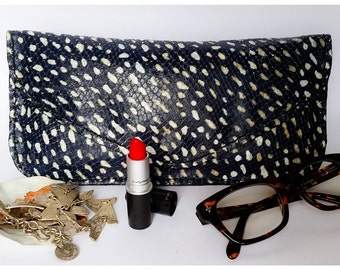 Spot print Leather CLutch with Pearl leather lining