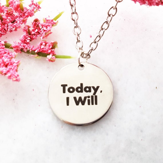 Fitness Gifts, CrossFit Jewelry, Sports Jewelry, Today I Will Charm Necklace, Inspirational Quotes, Unique Charms, Team Coach Runner Gifts