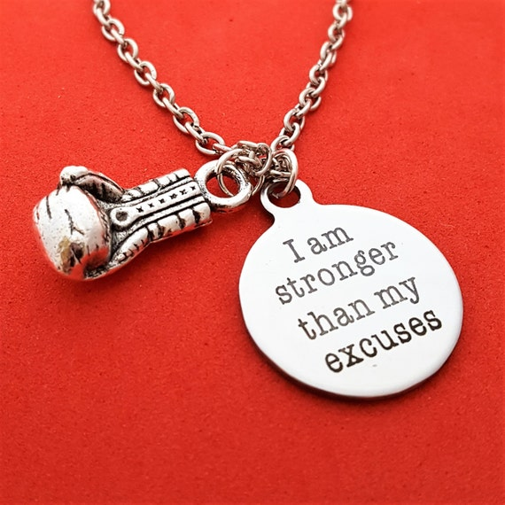 Boxer Gifts, Boxing Jewelry, Boxer Trainer Gifts, Boxing Charms, I Am Stronger Than My Excuses Charm Necklace,Motivational Quotes,No Excuses